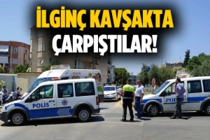Dikkatsiz Sürücü Polis Otosuna Çarptı!